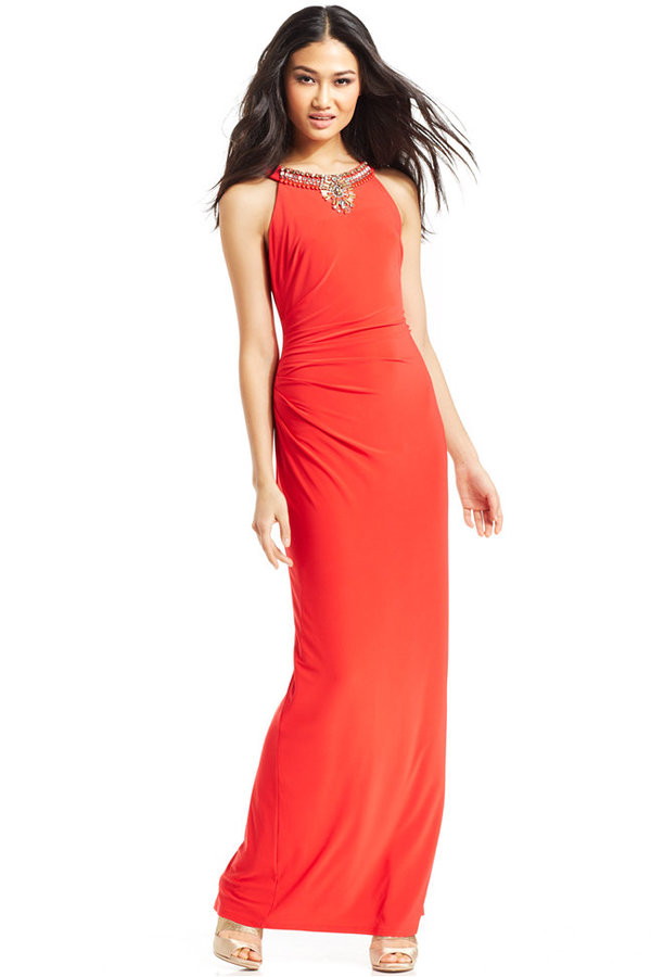 Vince Camuto Necklace Halter Gown | Where to buy & how to wear