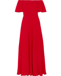Off the shoulder silk georgette gown red medium 1196586
