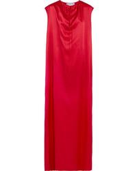 Balenciaga Silk Satin Maxi Gown Red