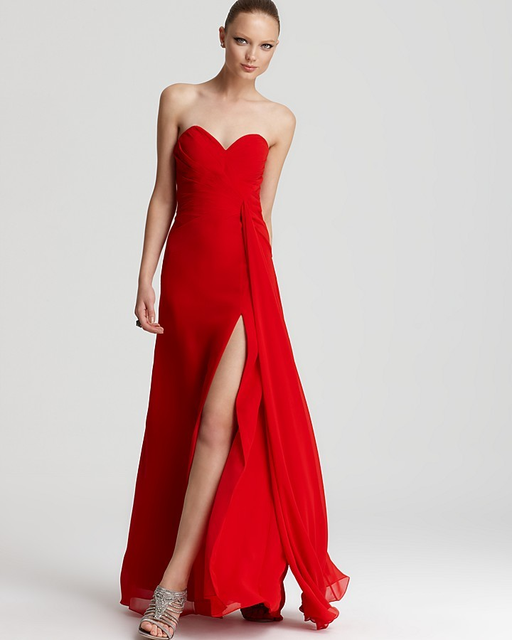 7f90d7ba668a Faviana Strapless Gown High Slit, $258   Bloomingdale's   Lookastic.com
