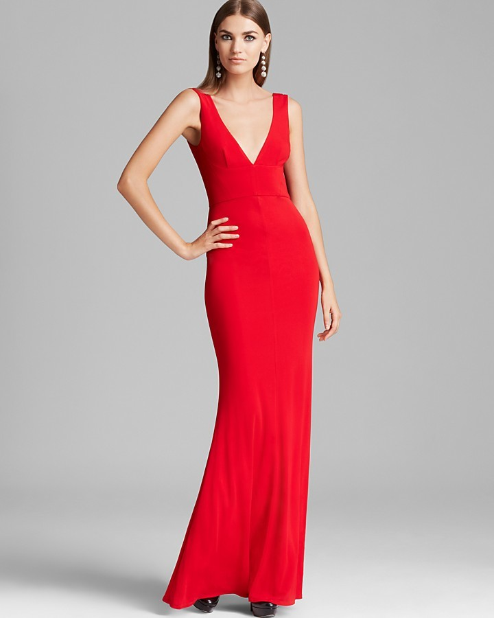 ABS by Allen Schwartz V Neck V Back Gown Sleeveless | Where to buy ...