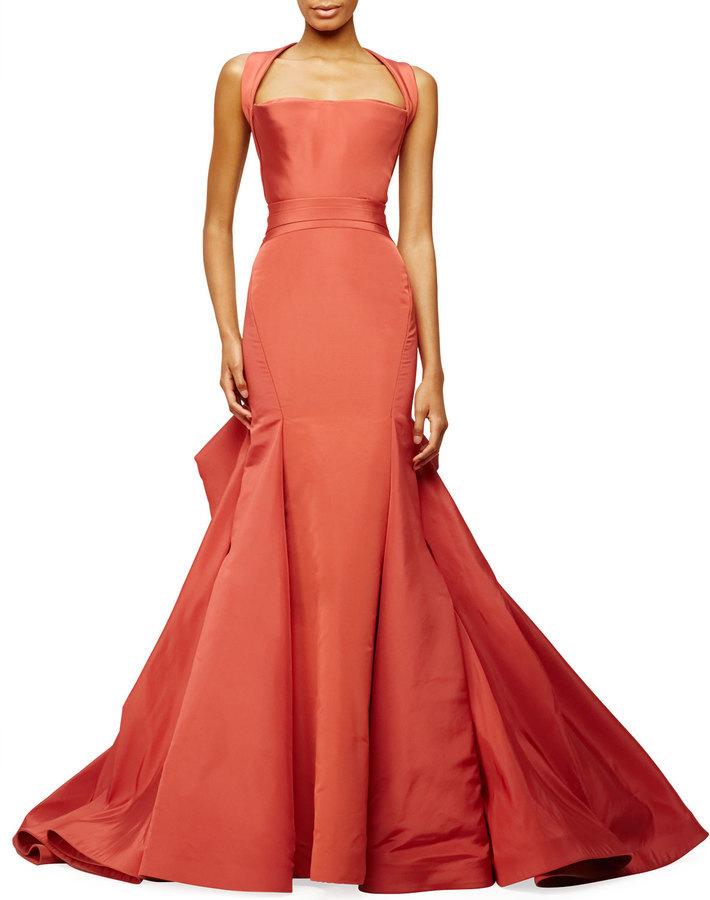 Zac Posen Halter Neck Trumpet Gown Crimson   Where to buy & how to wear