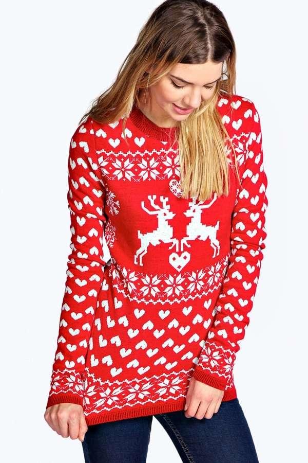 Boohoo Addison Reindeer Love Christmas Jumper | Where to buy & how ...