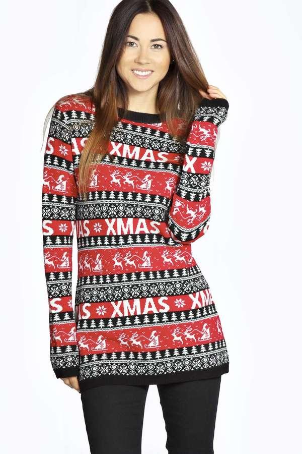 Boohoo Cheryl Christmas Reindeers Tunic Jumper | Where to buy ...