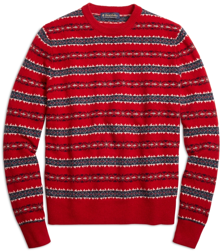 Brooks Brothers Merino Wool Fair Isle Crewneck Sweater | Where to ...