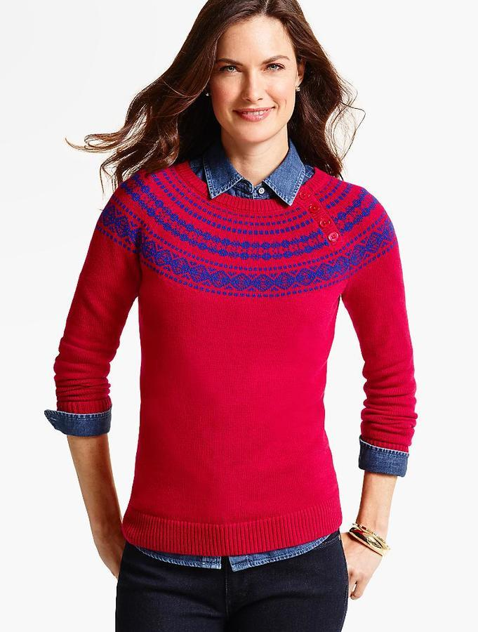 Talbots Button Yoke Fair Isle Sweater | Where to buy & how to wear