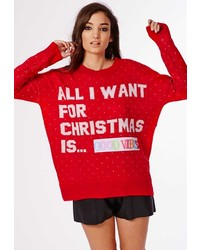 Missguided Damita Diy Slogan Knit Holiday Sweater Red