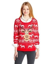 Isabellas Closet Sequin Rudolph On Fair Isle Ugly Christmas Sweater