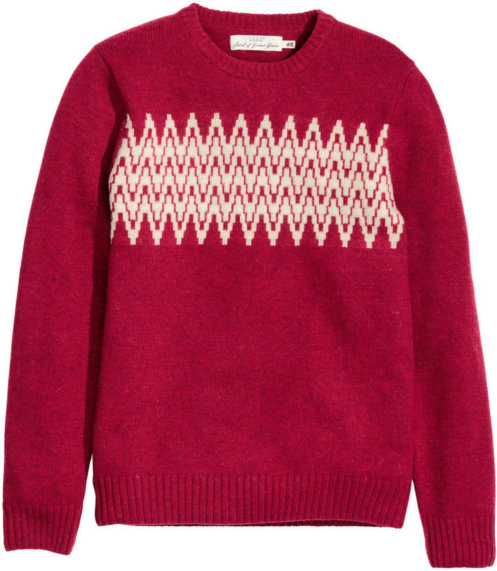 ... H M Jacquard Knit Sweater Red ... 0d2fc5467