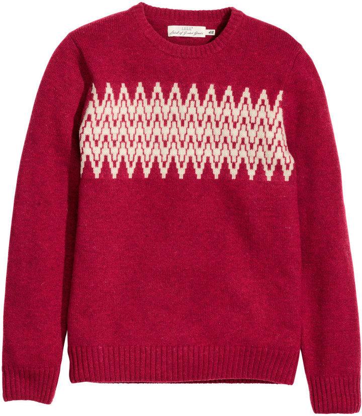 5cdd1dec1 H M Jacquard Knit Sweater Red