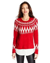Kensie Fair Isle Twofer Sweater