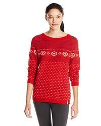 Women's Red Fair Isle Crew-neck Sweaters by Woolrich | Women's Fashion