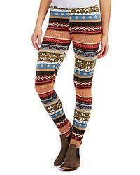 Poof fair isle fleece leggings medium 124054