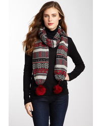 Fair isle pompom scarf medium 122135