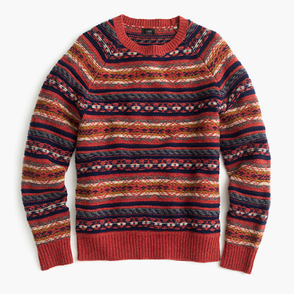 jcrew lambswool fair isle sweater in heather rust - Fair Isle Muster