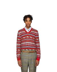 Red Fair Isle V-neck Sweater