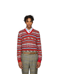 Gucci Red Wool Jacquard V Neck Sweater