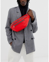 ASOS DESIGN Large Faux Leather Cross Body Bum Bag In Red With Zip