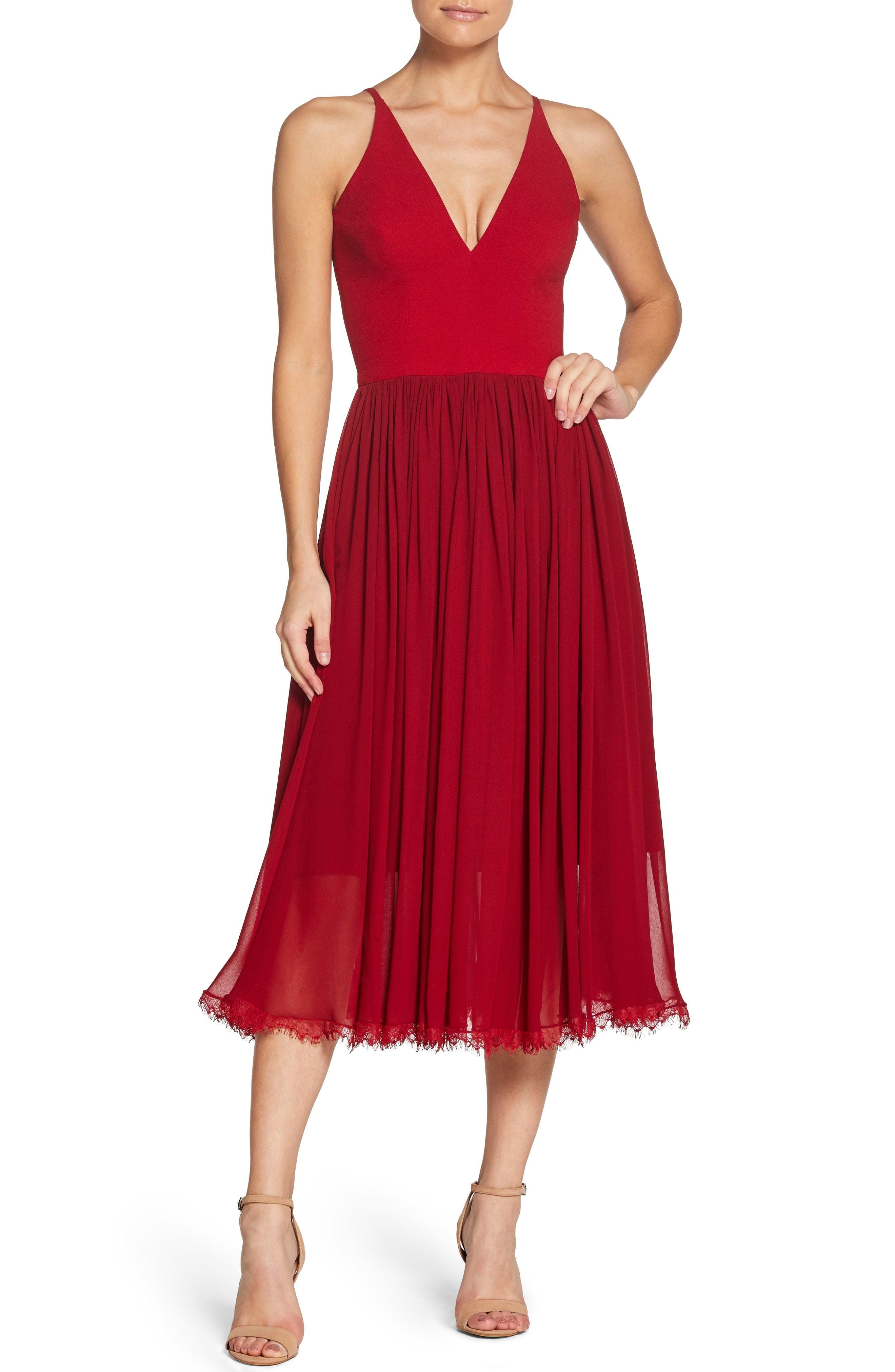 0436a980331f Dress the Population Alicia Mixed Media Midi Dress, $198   Nordstrom ...