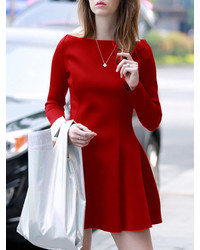 Boat Neck Flare Red Dress