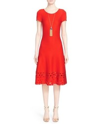 St. John Collection Diamond Knit Trim Fit Flare Dress