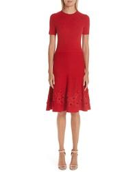 Oscar de la Renta Lace Applique Wool A Line Dress