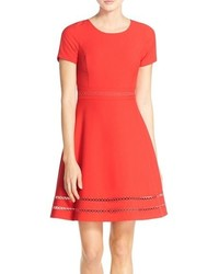 Andrew Marc Marc New York Lattice Inset Woven Fit Flare Dress