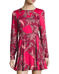 MinkPink Mink Pink Femme Fatale Fit Flare Dress Red Pattern