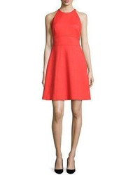 Lela Rose Modified Halter Fit  Flare Dress Poppy