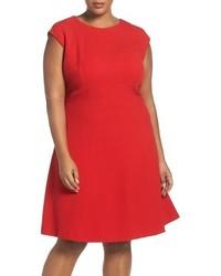 Plus size seamed crepe fit flare dress medium 844889