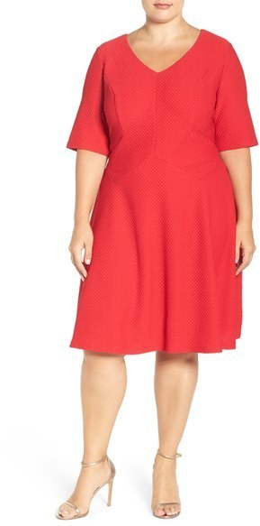 London Times Plus Size Textured Fit Flare Dress Where To Buy How