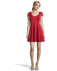 4.collective Red Stretch Neoprene Cap Sleeve Fit And Flare Dress