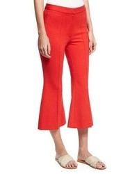 Tibi Tailored Ponte Flare Leg Cropped Pants Red