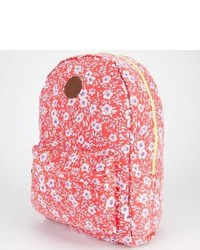 Red Floral Canvas Backpack