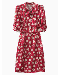 Choies red daisy print waisted dress medium 72749