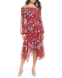Red Floral Chiffon Midi Dress