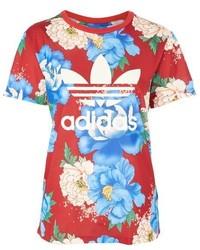 adidas Originals Floral Print Trefoil T Shirt