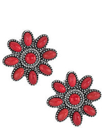 Sterling red coral cluster buttonearrings medium 4381304