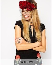 Asos Rock N Rose For Multi Rose Veil Headband Redblack