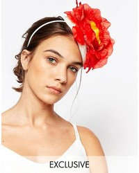 Johnny Loves Rosie Fascinator With Red Flowers