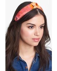 L. Erickson Narrow Knot Turban Headband Brushstroke Floral Orange