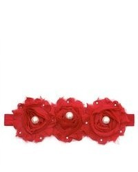 Reflectionz Red Stretch Pearl Rhinestone 3 Flower Headband