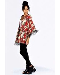 Boohoo pheobe floral print tassel kimono medium 88322