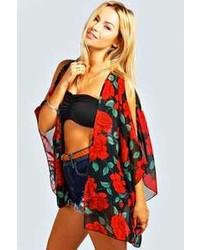 Boohoo Samma Large Floral Print Open Shoulder Kimono