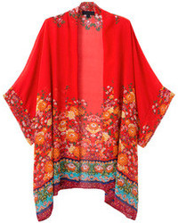 Choies red floral batwing sleeve kimono coat medium 88320