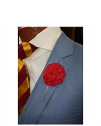 Dapper World Red Solid Flower Lapel Pin