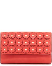 Neiman Marcus Floral Appliqu Box Clutch Bag Coral