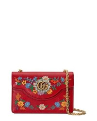 f7d8e5306f2d Gucci Red Large Ricami Leather Embroidered Shoulder Bag   Where to ...