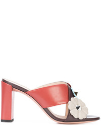 Fendi Floral Cross Strap Heeled Sandals