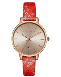 Ted Baker London Kate Floral Leather Strap Watch 38mm